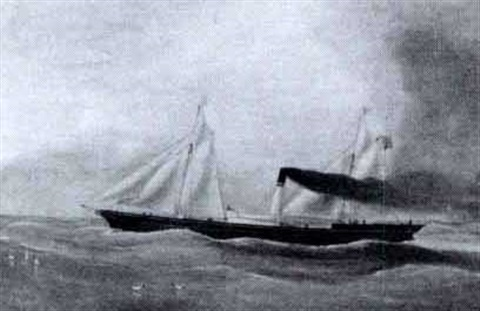 steamer flying the union jack under sail by w r nixon