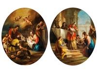 anbetung des kindes im stall von bethlehem (+ darbringung im tempel; pair) by francesco zugno the younger