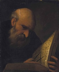 a philosopher, bust-length, studying a text by pietro muttoni