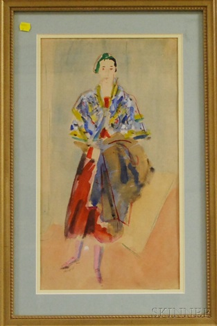 portrait of catherene green arapoff in a colorful wrap by alexis paul arapov