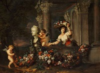 a young lady with a flower basket in a classical architectural fantasy by jan pauwel gillemans the younger