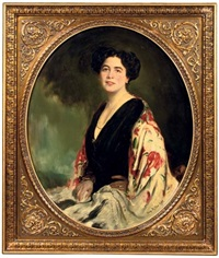 portrait of miss von kleinschnitz wearing a colourful shawl by caspar ritter