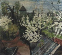 garten im frühling mit blühenden kirschbäumen by bernard gobiet