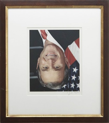 official portrait of george w bush available free from the internet hung upside down by jonathan horowitz