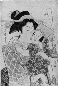 halbporträt einer frau, die einen kleinen jungen im arm hält by tsukimaro