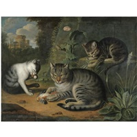 a still life with a cat and two kittens in a landscape by jacob samuel beck