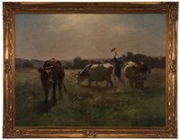 pastoral landscape with cows and field worker by aymar (aimard alexandre) pezant