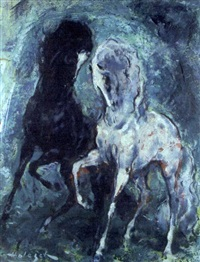 a black stallion and a grey stallion by denes de holesch