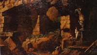figures amidst antique ruins by louis joseph le lorrain