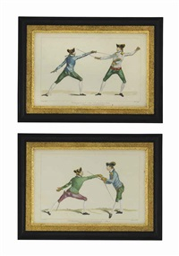 fencing duels (9 works) by henry angelo