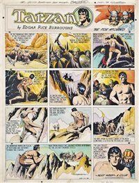 tarzan and the barbarians - the foe aroused: original artwork for the syndicated tarzan comic strip by burne hogarth