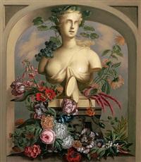 unter rundbogen weibliche bacchantische büste mit reichem blütenschmuck by austrian school-vienna (19)