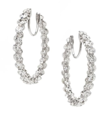 A Pair Of 18 Karat White Gold And Diamond Inside Out Hoop Earrings Chopard