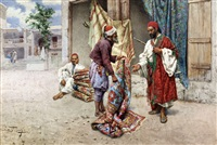 arabian carpet sellers by giulio rosati