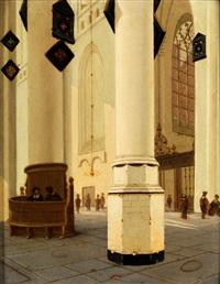 inneres einer gotischen kirche mit rundpfeiler und blick in eine seitenkapelle mit masswerkfenster und kapellengitter by pieter janz saenredam