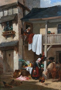 a continental street scene with maids at a market stall by a house by auguste aristide fernand constantin