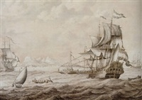 ships of the dutch fleet off an italian port by adriaen van salm