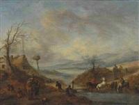 reiter mit pferden beim durchqueren eines baches by philips wouwerman