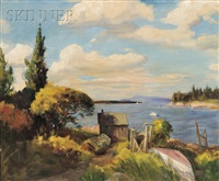 maine coast with lobster shack by raymond a. ewing