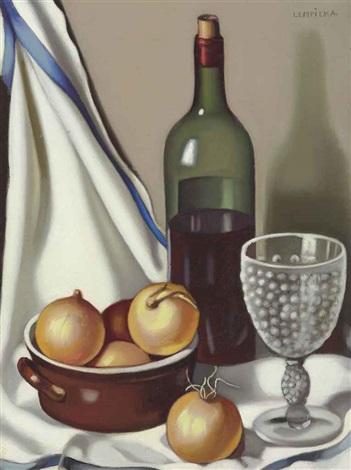 bouteille de vin et oignons by tamara de lempicka