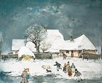 winterlandschaft mit malerischem gehöft, weiher und figurenstaffage by antal jancsek