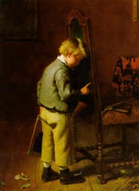spielender knabe by berthold woltze