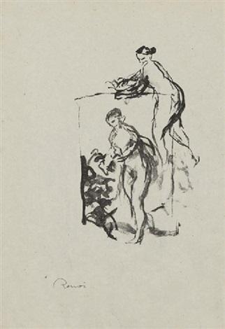 femme au cep de vigne 3e variante pl11 from douze lithographies originales de pierre auguste renoir by pierre auguste renoir