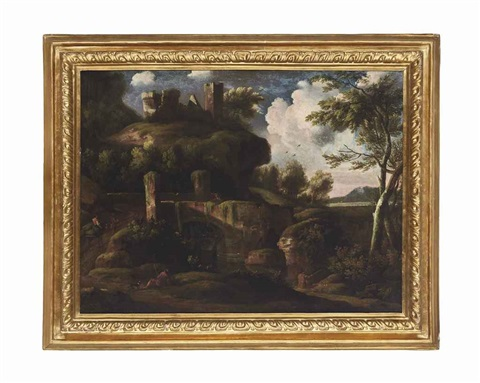 a rocky river landscape with travellers on a track, ruins beyond by jacob de heusch