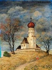 blumen pflückendes mädchen vor der kirche von holzhausen am starnberger see by hans huber-sulzemoos