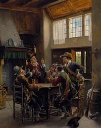 pokulierende musketiere in einer holländischen stube by k. vollmark