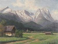 blick auf garmisch mit dem wettersteingebirge by august (friedrich a.) reinhardt