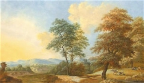 landscape view in the campagna near rome 2 others 3 works by friedrich rauscher