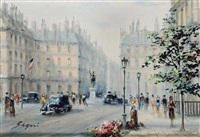 le petit pont; place du rivoli (2 works) by paul gagni