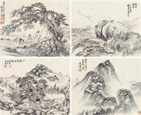 情寄幽壑 (四帧) (4 works) by hu tiemei