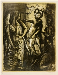 saint gall, christ with angels and seated woman (3 works) by benton murdoch spruance