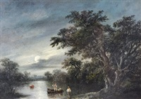 figures beside a boat on the river orwell, by moonlight by robert burrows