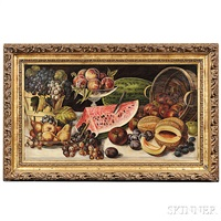elaborate still life with fruits on a marble tabletop by american school (19)