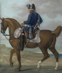 an equestrian portrait of king frederick ii of prussia by carl adolf heinrich hess