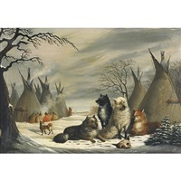 indian encampment with dogs at rest by joseph julius humme