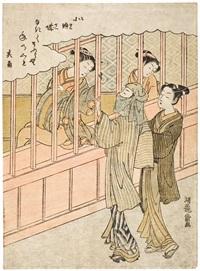 zwei junge männer - einer hat den kopf mit einem tuch umwickelt - stehen vor einem haus im yoshiwara und reden mit zwei dirnen (chûban) by isoda koryusai