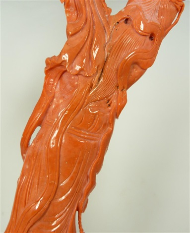 impressive chinese carved red coral group