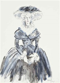 costume design for the countess of codlington; studies of the countess of codlington wearing a pink dress (2 works) by cecil beaton