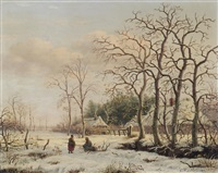 faggot gatherers in a winter landscape by gerrit hendrik gobell