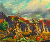 haystacks in autumn by macivor reddie