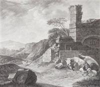 landschaft mit ruine und einem brunnen, an dem vieh lagert (after joh. heinrich roos) by johann friedrich morgenstern