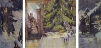 bornene beunder det tændte juletræ by rudolf pöschmann