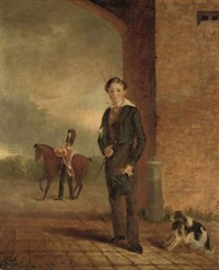 portrait of george dean-pitt, standing in an archway, with his spaniel, a grenadier guard preparing his horse beyond by thomas bunbury