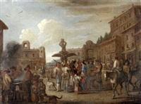 volkstreiben auf der piazza barberini in rom vor dem tritonbrunnen by wenzel lorenz reiner