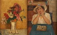 la lecture et vase fleuri (2 works) by juliette cambier