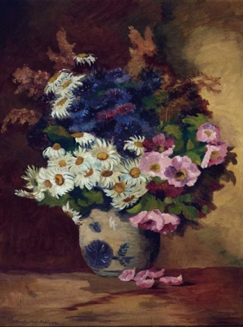 Still Life Of Daisies In A Pottery Vase By Max Theodor Streckenbach